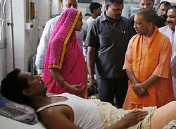 June 4, 2017 - Allahabad: Uttar Pradesh Chief minister Aditya Nath yogi  meet with patient during his visit to Swaroop Rani Neharu Hospital in Alllahabad on 04-06-2017. photo by prabhat kumar verma (Credit Image: © Prabhat Kumar Verma via ZUMA Wire)