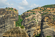 Spectacular Meteora rock formations and monasteries, Meteora, Plain of Thessaly, Greece