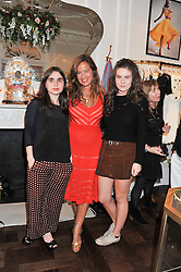 Left to right, ASSISI JACKSON, JADE JAGGER and AMBA JACKSON at the Frocks and Rocks party hosted by Alice Temperley and Jade Jagger at Temperley, Bruton Street, London on 25th April 2013.
