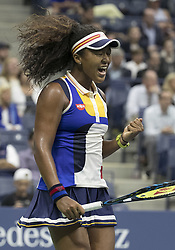 August 30, 2017 - New York, New York, U.S - NAOMI OSAKA reacts after defeating  Angelique Kerber during her match on Day Two of the 2017 US Open at the USTA Billie Jean King National Tennis Center on Monday. Osaka defeats Kerber, 6-3, 6-1. (Credit Image: © Javier Rojas/Prensa Internacional via ZUMA Wire)