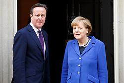© licensed to London News Pictures. London, UK 27/02/2014. German Chancellor Angela Merkel meeting British Prime Minister David Cameron on Downing Street, London on Thursday, 27 February 2014. Photo credit: Tolga Akmen/LNP