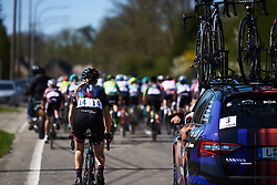 Pauline Ferrand Prevot (FRA) comes back for a chat at the team car at La Flèche Wallonne Femmes 2018, a 118.5 km road race starting and finishing in Huy on April 18, 2018. Photo by Sean Robinson/Velofocus.com