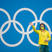 TOKYO, JAPAN - JULY 27: Kaylee McKeown of Australia on the podium to receive her gold medal after winning the Swimming Finals at the Tokyo Aquatic Centre at the Tokyo 2020 Summer Olympic Games on July 27, 2021 in Tokyo, Japan. (Photo by Tim Clayton/Corbis via Getty Images)