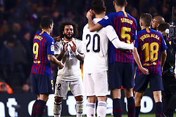 February 6, 2019 - Barcelona, Spain - FC Barcelona's forward Luis Suarez  (L) and MARCELO  after semifinal of spanish King Cup frist leg match between FC Barcelona and Real Madrid at  Nou Camp Stadium on February  6, 2019. (Credit Image: © Jose Miguel Fernandez/NurPhoto via ZUMA Press)