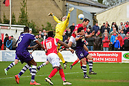 Ebbsfleet United midfielder Jack Powell (7) scores a goal 5-1 during the Vanarama National League South match between Ebbsfleet United and East Thurrock United at the Enclosed Ground, Whitehawk, United Kingdom on 4 March 2017. Photo by Jon Bromley.