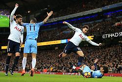 21st January 2017 - Premier League - Manchester City v Tottenham Hotspur - Dele Alli of Spurs skips over David Silva of Man City - Photo: Simon Stacpoole / Offside.