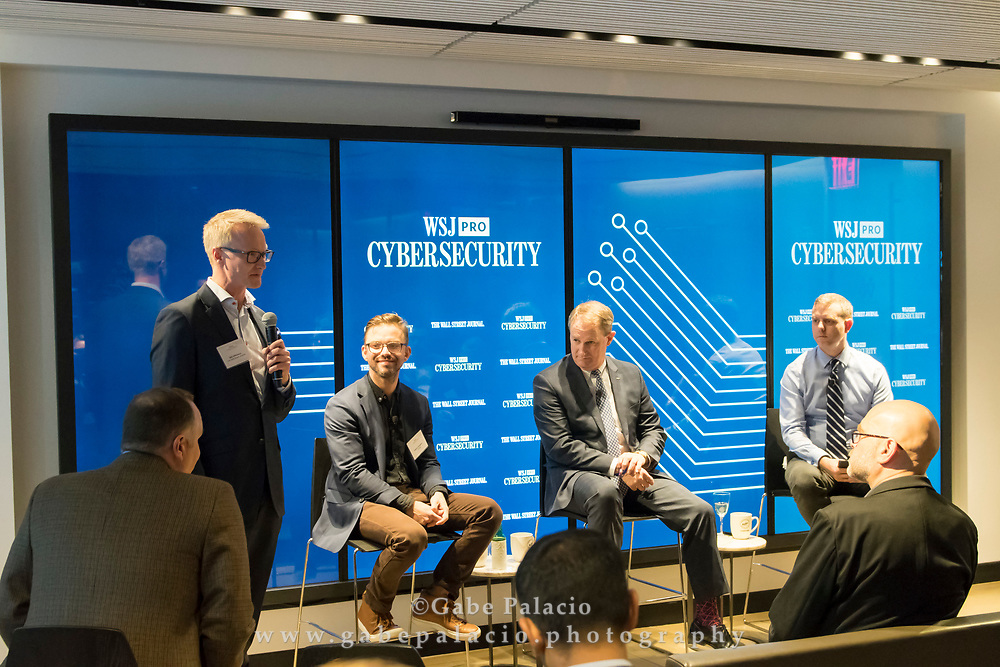 Will Wilkinson introduces The WSJpro Cybersecurity event featuring Rob Sloan, Moderator, with Patrick Coughlin, COO TruStar, and John Felker, Director, National Cybersecurity and Communications Integration Center, U.S. Department of Homeland Security in New York City on December 12, 2017. (photo by Gabe Palacio)