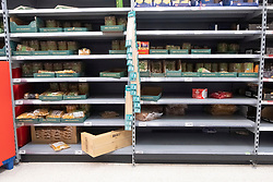 © Licensed to London News Pictures. 03/03/2020. London, UK. Almost empty shelves  shelves of pasta in a Asda supermarket in Wembley as more Coronavirus disease cases are reported in the the UK. Photo credit: London News Pictures