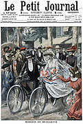 Wedding party on bicycles led by Bride and Bridegroom, Nice, France. Party rode to civil ceremony and, after it was performed, remounted and rode off for the Wedding Breakfast. From 'Le Petit Journal' Paris April 1909.