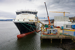 Port Glasgow, Scotland, UK. 9 Mar 2021. Views of Caledonian Macbrayne ferry Glen Sannox under fabrication at Ferguson Marine shipyard in port Glasgow, Inverclyde, Scotland.The  ferry is years late and is subject to complex financial and legal controversies.  Iain Masterton/Alamy Live News