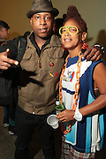 September 22, 2012- Los Angeles, CA:  (L-R) Recording Artists Talib Kweli and Lesbian Hiphop Recording Artist Medusa backstage at the Lyricist Lounge 20th Year Reunion Party-Los Angeles held at Club Nokia at LA Live on September 22, 2012 in Los Angeles, California. The Lyricist Lounge is a hip hop showcase of rappers, emcees, DJ's, and Graffiti artists. It was founded in 1991 by hip hop aficionados Danny Castro and Anthony Marshall. It was a series of open mic events hosted in a small studio apartment in the Lower East Side section of New York City. (Terrence Jennings)