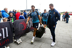 Marco Mama and Ashley Beck of Worcester Warriors arrive at The AJ Bell Stadium for his side's Gallagher Premiership fixture against Sale Sharks - Mandatory by-line: Robbie Stephenson/JMP - 09/09/2018 - RUGBY - AJ Bell Stadium - Manchester, England - Sale Sharks v Worcester Warriors - Gallagher Premiership