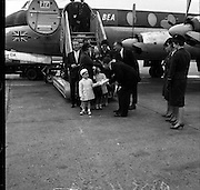 The Rainier children, Caroline and Albert, arrive at Dublin Airport prior to joining their parents, Prince Rainier and Princess Grace of Monaco, for a holiday in the West of Ireland..13.06.1961