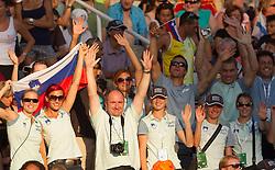 Marina Tomic, Nina Kolaric, coach Slavko Malnar, Liona Rebernik, Tina Sutej, Bostjan Fridrih, Anja Puc, Dejan Skoflek, Dasa Bajec, coach Robert Rudelic of team Slovenia watching Snezana Rodic of Slovenia when she competes during the women's triple jump final at the 2010 European Athletics Championships at the Olympic Stadium in Barcelona on July 31, 2010.(Photo by Vid Ponikvar / Sportida)