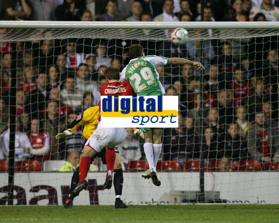 Photo: Rich Eaton.<br /> <br /> Nottingham Forest v Yeovil Town. Coca Cola League 1. Play off Semi Final 2nd Leg. 18/05/2007. Yeovils Marcus Stewart  #29 heads to score late in the second half to make the score 3-1 on the night, 3-3 agg