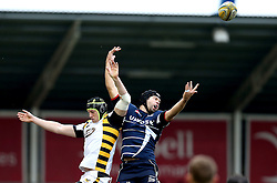 Matt Symons of Wasps and Josh Beaumont of Sale Sharks challenge for a line out - Mandatory by-line: Robbie Stephenson/JMP - 19/02/2017 - RUGBY - AJ Bell Stadium - Sale, England - Sale Sharks v Wasps - Aviva Premiership