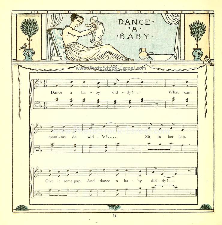 Dance a Baby From the Book '  The baby's opera : a book of old rhymes, with new dresses by Walter Crane, and Edmund Evans Publishes in London and New York by F. Warne and co. in 1900