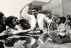 June 3, 2016 - File - MUHAMMAD ALI, the three time heavyweight boxing champion, has died at the age of 74. He had been fighting a respiratory illness. 'The Greatest' was the dominant heavyweight boxer of the 1960s and 1970s, Ali won an Olympic gold medal in Rome in 1960, captured the professional world heavyweight championship on three separate occasions, and successfully defended his title 19 times. PICTURED: June 5, 1975 - Detroit, Michigan, U.S. - MUHAMMAD ALI in Detroit in 1975. (Credit Image: © Hugh Grannum/Detroit Free Press via ZUMA Wire)