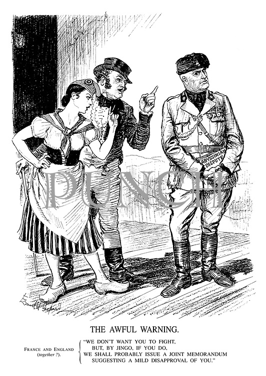 """The Awful Warning. France and England (together?). """"We don't want you to fight, but, by jingo, if you do, we shall probably issue a joint memorandum suggesting a mild disapproval of you."""""""