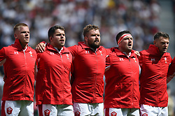Gareth Anscombe, Nicky Smith, Tomas Francis, Wyn Jones and Dan Biggar of Wales sing the national anthem - Mandatory byline: Patrick Khachfe/JMP - 07966 386802 - 11/08/2019 - RUGBY UNION - Twickenham Stadium - London, England - England v Wales - Quilter International