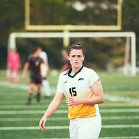 1st year defender, Abby Kirk (15) of the Regina Cougars during the Women's Soccer home opener on Sat Sep 08 at U of R Field. Credit: Arthur Ward/Arthur Images