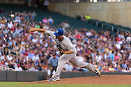 Jeremy Guthrie #11 of the Kansas City Royals pitches against the Minnesota Twins on June 27, 2013 at Target Field in Minneapolis, Minnesota.  The Twins defeated the Royals 3 to 1.  Photo by Ben Krause