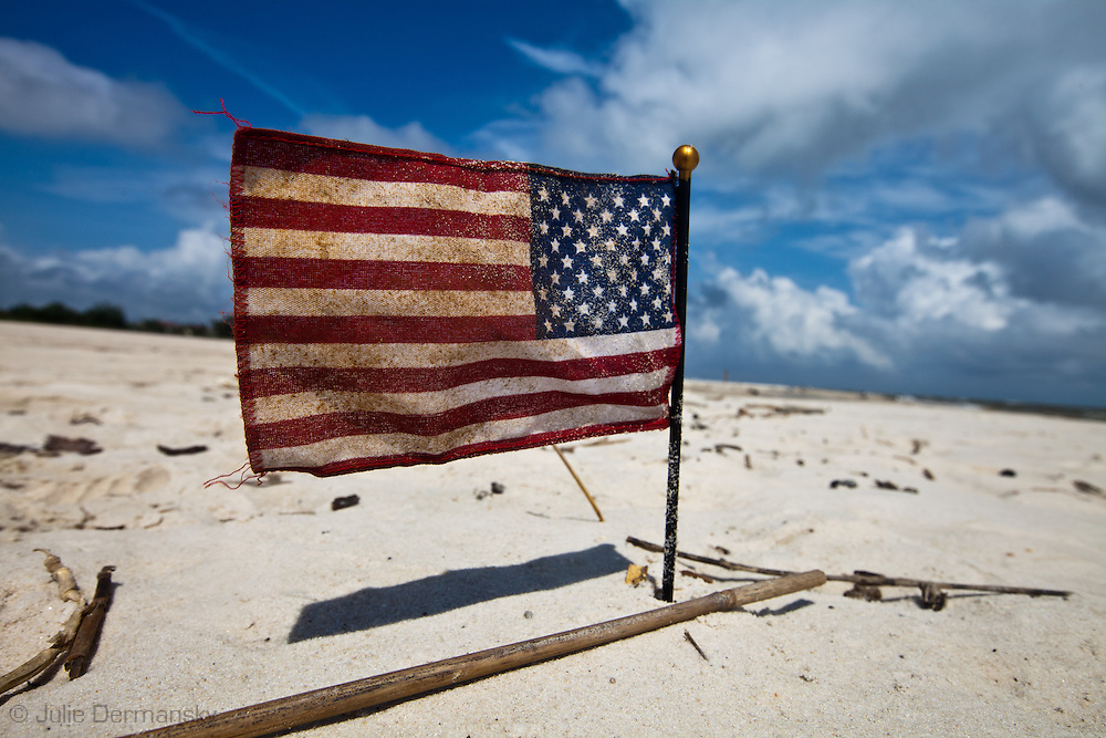 An American flag left on the beach in Long Beach.Mississippi a year after the BP oil disater.<br /> An unprecedented number of dead young  Kemp's Ridley and Loggerhead  sea turtles have washed up on the shores of Mississippi along the Gulf of Mexico starting almost a year after the BP oil spill. The sea turtle species being found dead are endangered. <br /> Test are being done on the high number of turtle and dolphin corpses found on the beaches but results have not been released.
