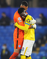 Football - 2020 / 2021 Premier League - Chelsea vs Brighton & Hove Albion - Stamford Bridge<br /> <br /> Yves Bissouma of Brighton is hugged by goalkeeper, Robert Sanchez at the final whistle after getting a draw<br /> <br /> Credit : COLORSPORT/ANDREW COWIE
