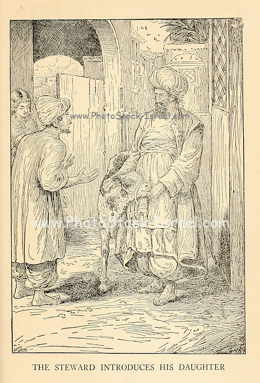 The Steward Introduces His Daughter from the book '  The Arabian nights' entertainments ' Test and Illustrations by Louis Rhead, Published  in New York by Harper & Brothers in 1916. In order to save her life, Sheherazade entertains the sultan by telling him wondrous stories