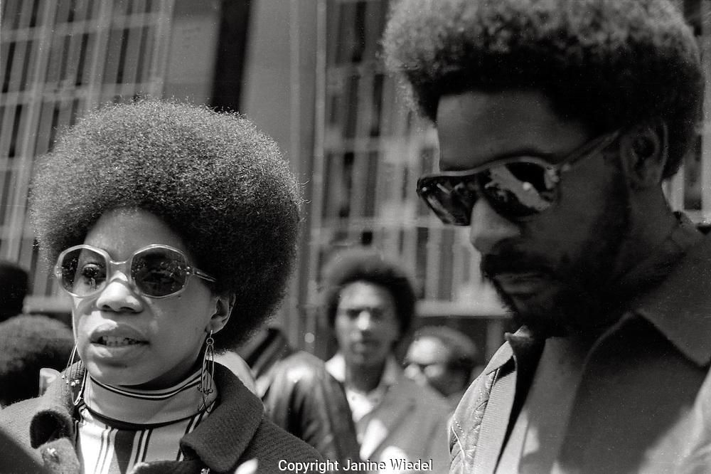 "Black Panther members Brenda Presley and John Seale at Black Panther ""Free Huey Newton""rally, San Francisco Mayday 1969"