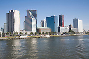 Modern skyscrapers offices and apartments Boompjes area on the northern bank of the River Maas, central Rotterdam, Netherlands