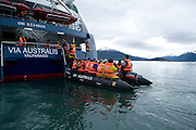 Zodiacs off cruise ship in  Patagonia, Chile