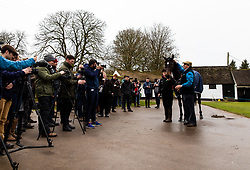 Nicky Henderson and Altior in front of media during the visit to Nicky Henderson's yard at Seven Barrows, Lambourn.