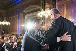 21.11.2016, Parlament, Wien, AUT, FPÖ, Feier anlässlich des 10 jährigen Jubiläums HC Strache´s als Klubobmann. im Bild v.l.n.r. Klubobmann FPÖ Heinz-Christian Strache und FPÖ-Präsidentschaftskandidat Norbert Hofer // f.l.t.r. Leader of the parliamentary group FPOe Heinz Christian Strache and Candidate for Presidential Elections Norbert Hofer (Austrian Freedom Party) during 10 years anniversary leader of the parliamentary group of the austrian freedom party in Vienna, Austria on 2016/11/21. EXPA Pictures © 2016, PhotoCredit: EXPA/ Michael Gruber