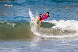 Shino Matsuda (JPN) advances to the Quarterfinals of the 2918 Junior Women's VANS US Open of Surfing after winning Heat 3 of Round 1 at Huntington Beach, CA, USA.