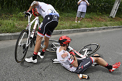 July 12, 2017 - Pau, FRANCE - Spanish Alberto Contador of Trek-Segafredo and Austrian Michael Gogl of Trek-Segafredo pictured after a crash during the 11th stage of the 104th edition of the Tour de France cycling race, 203,5km from Eymet to Pau, France, Wednesday 12 July 2017. This year's Tour de France takes place from July first to July 23rd. BELGA PHOTO POOL JEFF PACHOUD (Credit Image: © Pool Jeff Pachoud/Belga via ZUMA Press)