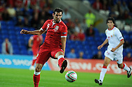 Joe Ledley of Wales. Euro 2012 Qualifying match, Wales v Montenegro at the Cardiff City Stadium in Cardiff  on Friday 2nd Sept 2011. Pic By  Andrew Orchard, Andrew Orchard sports photography,