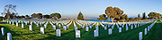 Panorama of Fort Rosecrans Cemetery on Point Loma, San diego