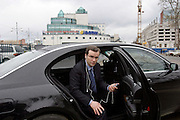 Tver, Russia, 30/04/2004..City Governor Dmitri Zelenin prepares for an interview at the local television station, and in his offical car in front of the new Olympic Shopping Mall.