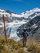 Dart Glacier, seen on a spectacular 20km round trip day hike from Dart Hut to Cascade Saddle, in Mount Aspiring National Park, Otago region, South Island of New Zealand.