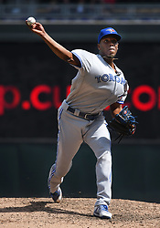 May 2, 2018 - Minneapolis, MN, U.S. - MINNEAPOLIS, MN - MAY 02: Toronto Blue Jays Pitcher Carlos Ramirez (38) delivers a pitch during a MLB game between the Minnesota Twins and Toronto Blue Jays on May 2, 2018 at Target Field in Minneapolis, MN.The Twins defeated the Blue Jays 4-0.(Photo by Nick Wosika/Icon Sportswire) (Credit Image: © Nick Wosika/Icon SMI via ZUMA Press)