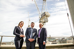 Pictured: Rochelle Burgess, Associate Director at Savills, Jamie Hepburn and Mike Prentice, executive Director of the CRBE retail development team.<br /> <br /> Business Minister Jamie Hepburn commented on labour market statistics during his visit to Elder House to see progress on the St James project.  He met Rochelle Burgess, Associate Director at Savills and Mike Prentice, executive Director of the CRBE retail development team.<br /> <br /> Ger Harley   EEm 11 September 2018