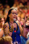 Janeane Garofalo performs during the first day of the 2008 Bonnaroo Music & Arts Festival on June 12, 2008 in Manchester, Tennessee. The four-day music festival features a variety of musical acts, arts and comedians. Photo by Bryan Rinnert