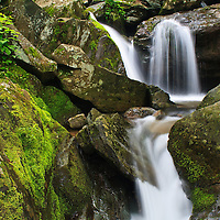 Landscape image of a cascade between the upper and lower portions of Dark Hollow Falls, Shenandoah National Park, Virginia.