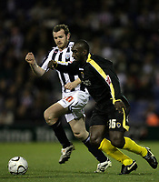 Photo: Rich Eaton.<br /> <br /> West Bromwich Albion v Cardiff City. Carling Cup. 25/09/2007. Cardiff's Jimmy Floyd Hasselbaink (R) runs past Craig Beattie