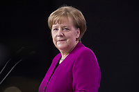 26 FEB 2018, BERLIN/GERMANY:<br /> Angela Merkel, CDU, Bundeskanzlerin, waehrend der Eroeffnung des Parteitages, CDU Bundesparteitag, Station Berlin<br /> IMAGE: 20180226-01-037<br /> KEYWORDS: Party Congress, Parteitag