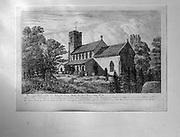 Village parish church Heveningham, Suffolk, England, UK old engraving picture
