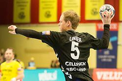 Manuel Liniger of Kadetten Schaffhausen during handball match between RK Gorenje Velenje and Kadetten Schaffhausen in VELUX EHF Champions League, on November 25, 2017 in Rdeca Dvorana, Velenje, Slovenia. Photo by Ziga Zupan / Sportida