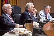 Apr. 20, 2009 -- PHOENIX, AZ: US Senators JOHN MCCAIN (R-AZ) left, JOE LIEBERMAN (IND-CT) and JON KYL (R-AZ) hold a senate committee hearing in Phoenix Monday. The US Senate Committee on Homeland Security and Government Affairs, chaired by Sen. Joe Lieberman (Ind-CT), held a hearing about local perspectives on border violence in the Phoenix City Council chambers in Phoenix, AZ, Monday.   Photo by Jack Kurtz