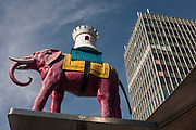 The iconic elephant and Castle symbol outside the soon to be demolished Shopping Centre on 1st September 2016, at Elephant & Castle, south London, England UK. The regeneration of Elephant is a controversial change to this area of south London where a poor segment of society and more recently a migrant population has traditionally proliferated. With the construction of a new estate called Elephant Park comes a wealthier but less present occupier, more interested in investment than integration.